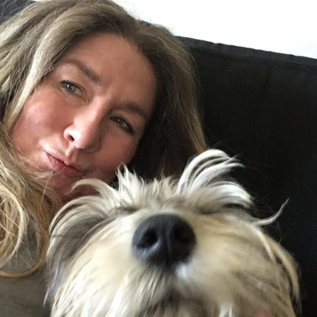 Woman with emotional support dog