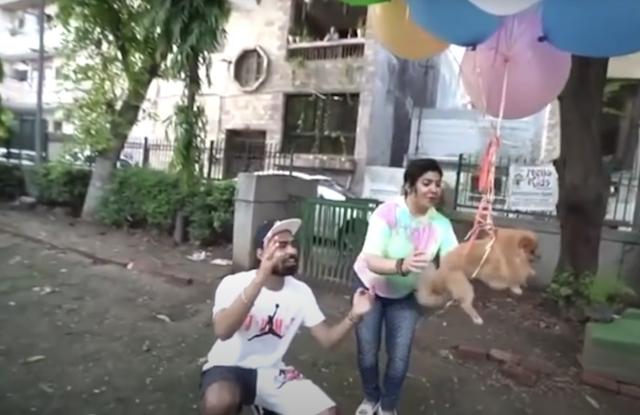 YouTuber making dog float