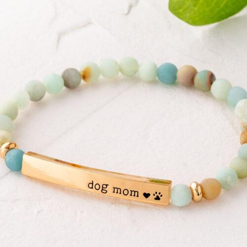 Paws & Reflect 'Dog Mom' Bracelet - Pastel Matte Amazonite