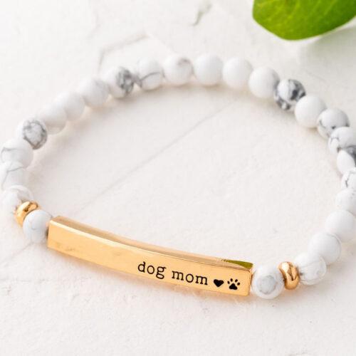 Paws & Reflect 'Dog Mom' Bracelet - White Turquoise