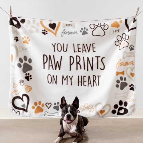 Give Warmth™️ Buy One Give One Fleece Dog Blanket: You Leave Paw Prints on My Heart 30″ x 40″