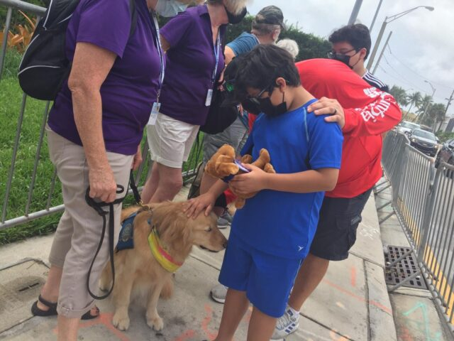 Boy petting Surfside therapy dog