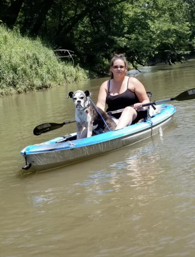 Lost dog on kayak