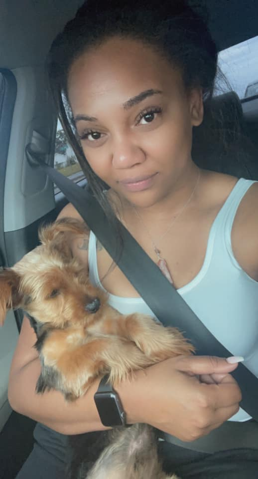 Yorkie and woman reunited