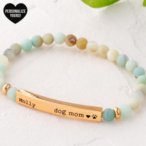 """Paws & Reflect Customizable 'Dog Mom"""" Beaded Bracelet Pastel"""