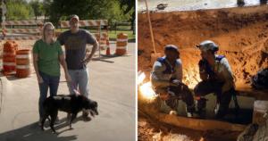 Dog storm drain rescue