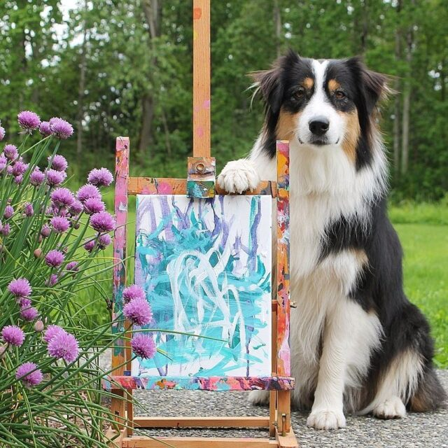 Dog abstract painting