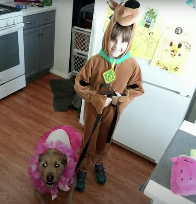 Girl and dog on Halloween
