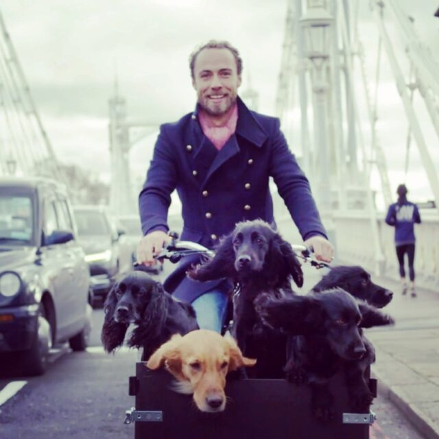 James Middleton Bikes with Dogs
