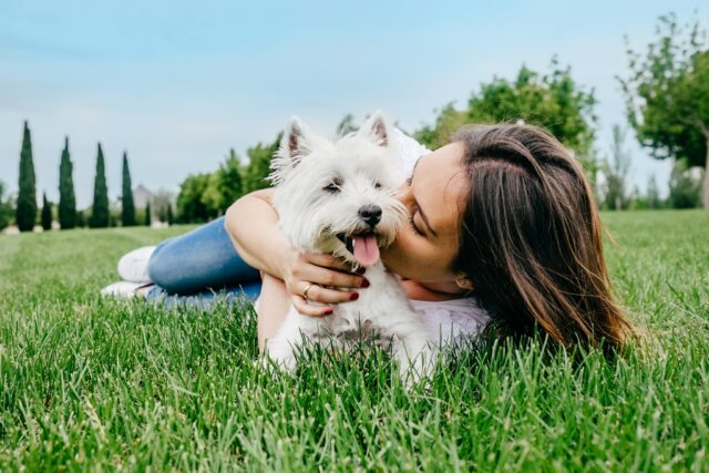 Woman kissing small dog