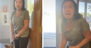 Woman yells at dog trainer