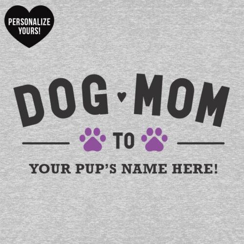 Dog Mom To My Fur Babies Personalized Slouchy Tee Heather Grey