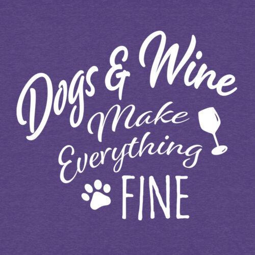 Dogs & Wine Make Everything Fine Slouchy Tee Vivid Purple