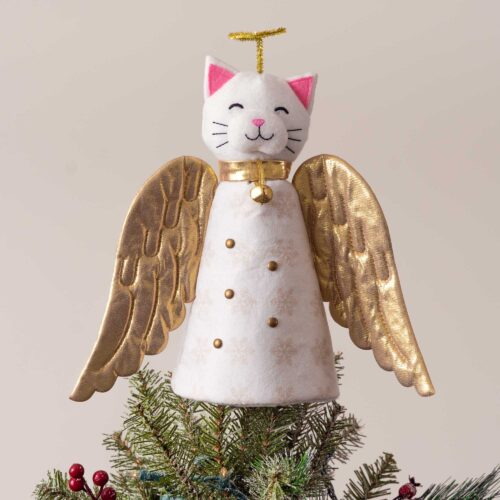 A 'Christmas Miracle' Golden Angel Cat Artisan Tree Topper