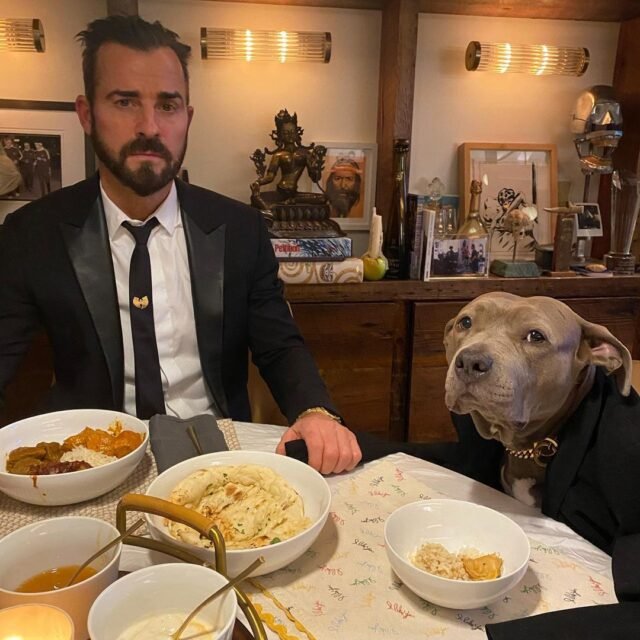 Justin Theroux Dog Dinner Date
