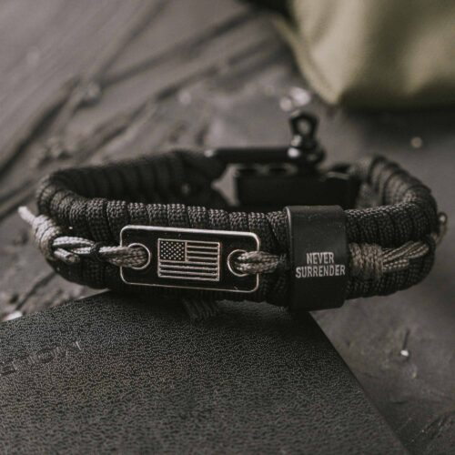 Never Surrender Barbed Wire Paracord Bracelet: Helps Pair Veterans With A Service Dog Or Shelter Dog