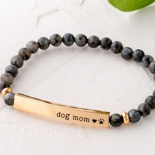 Paws & Reflect 'Dog Mom' Bracelet  – Grey Spectrolite Bracelet