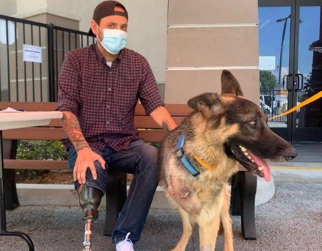 veteran and 3 legged dog