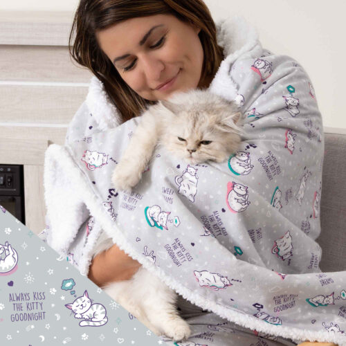 Give Warmth™️ Buy One Give One Sherpa Flannel Blanket: 'Always Kiss The Kitty Goodnight' – 60″x 50″