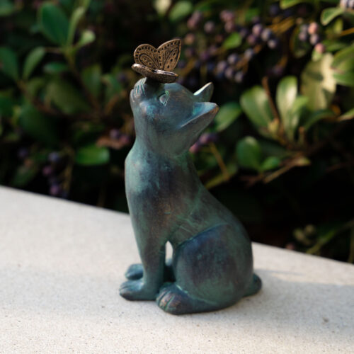 Curious Cat with Butterfly Indoor/Outdoor Figurine