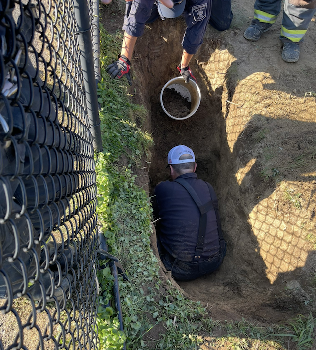 Firefighters dig hole to save dog