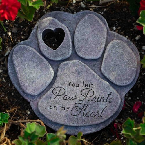 You Left Paw Prints On My Heart Garden Stone