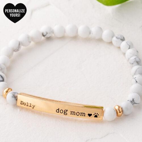 Customizable Dog Mom Beaded Bracelet - White Turquoise