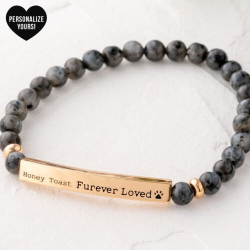 Customizable Furever Loved Beaded Bracelet - Grey Spectrolite